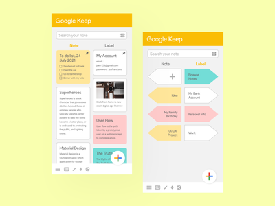 Google Keep UI Redesign branding google mobile application mobile app redesign google keep redesign application design app design web design google keep note design uiux design ux graphic design ui