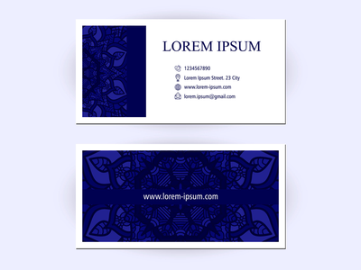 Business Card With Floral Ornament Decoration business card template beauty business card mockup paper pattern flower creative design decorative company illustration beautiful art decoration ornament floral business business cards business card