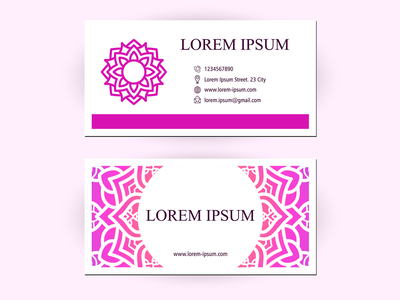 Business Card With Floral Ornament Decoration pixel art round oriental company creative business card design pink flower ornament floral mandala decoration pattern business card mockup business card template card business business card illustration beautiful