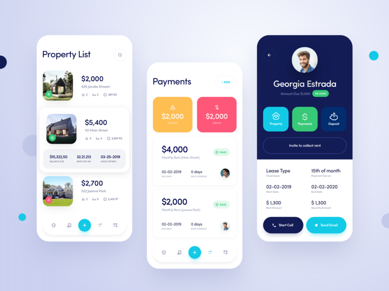Property Management App design ui apartment house real estate property app mobile