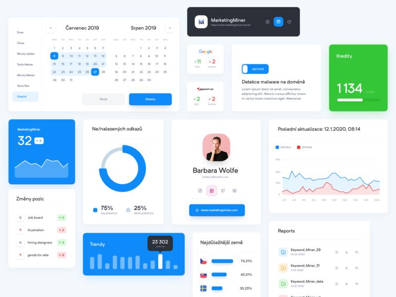 Marketing Miner - Components seo concept statistics clean dashboard interface uidesign website web design ui