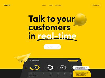 Gladly - Landing Page landingpage chatbot homepage app landing page interface ux uidesign website web ui design chat app marketing chat