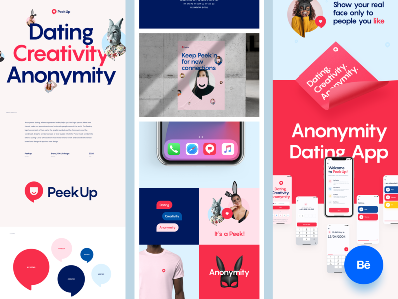 PeekUp - Behance Case Study mobile ios interface uidesign design ux ios app design datingapp casestudy ui mobile app app branding brand behance