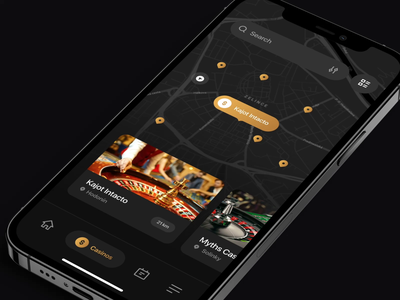 MyCasinoHub - Feed & Map animation userinterface app design app mobile app motion graphics interface uidesign ui