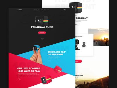 Polaroid Cube  Landing Page cube polaroid design landing page website clean web design flat ui