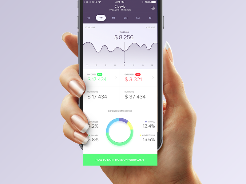 Funda App design ui money ios finance dashboard app