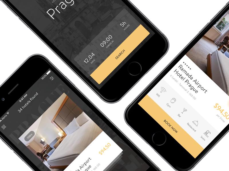 Hours Hotel App booking mobile ui uidesign hotel design ios app