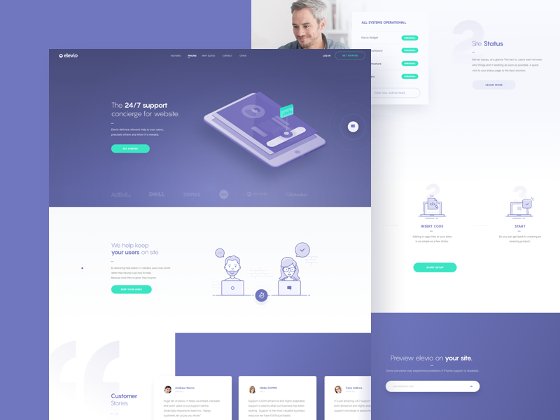 Elev.io Landing Page website hompage icon illustration ux uidesign web landing page design clean