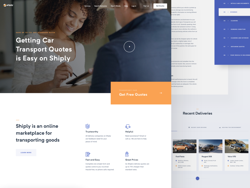 Shiply landing page car transport design user interface ui uidesign webdesign website web landing page
