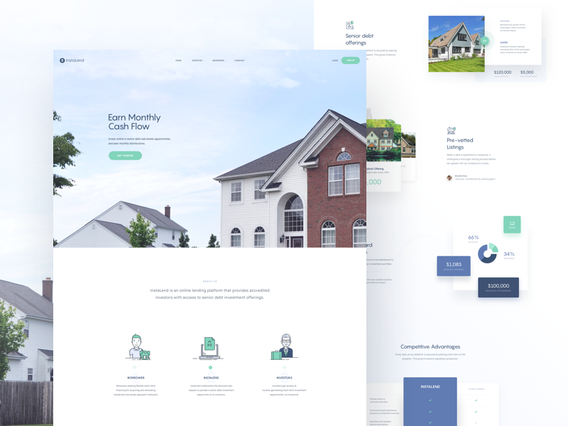 Instalend - Homepage website web ui real estate page interface experience design case study behance