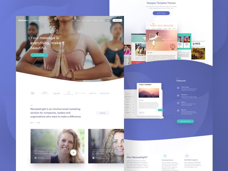 NamasteLight - Homepage homepage yoga email marketing user interface ux ui website web landing page