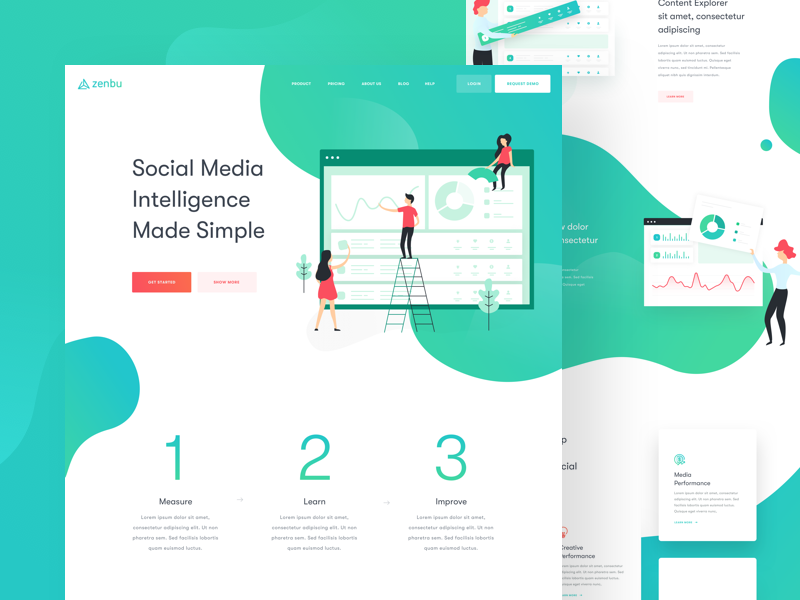 Zenbu - Landing Page balkanbrothers marketing social media illustration clean uxdesign uidesign ux ui web website landing page
