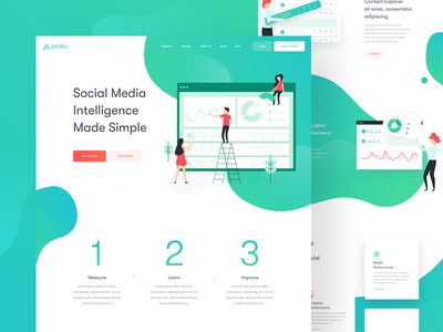 Zenbu - Landing Page balkanbrothers marketing social media illustration clean uxdesign uidesign ux ui web website landing page