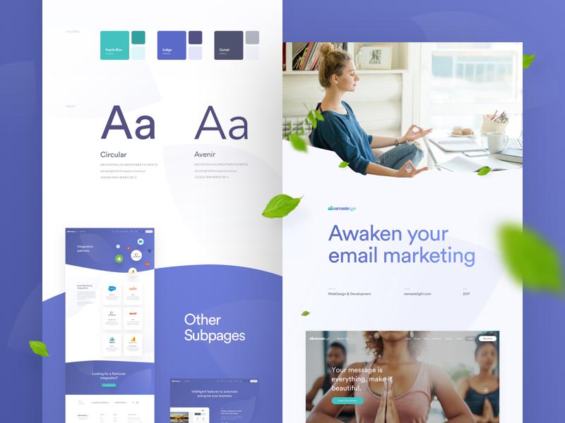 Namastelight on Behance case study behance yoga website web ux user interface ui landing page homepage email marketing