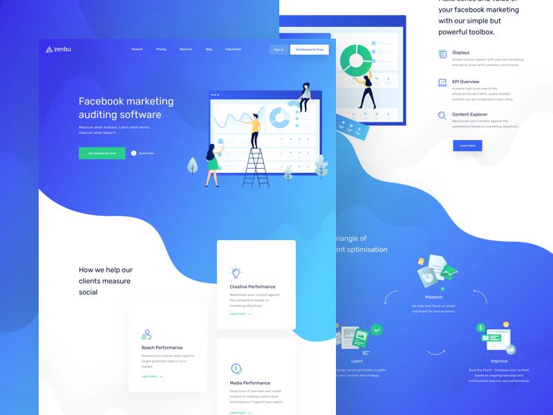 Zenbu - Homepage website web uxdesign ux uidesign ui social media marketing landing page illustration clean balkanbrothers