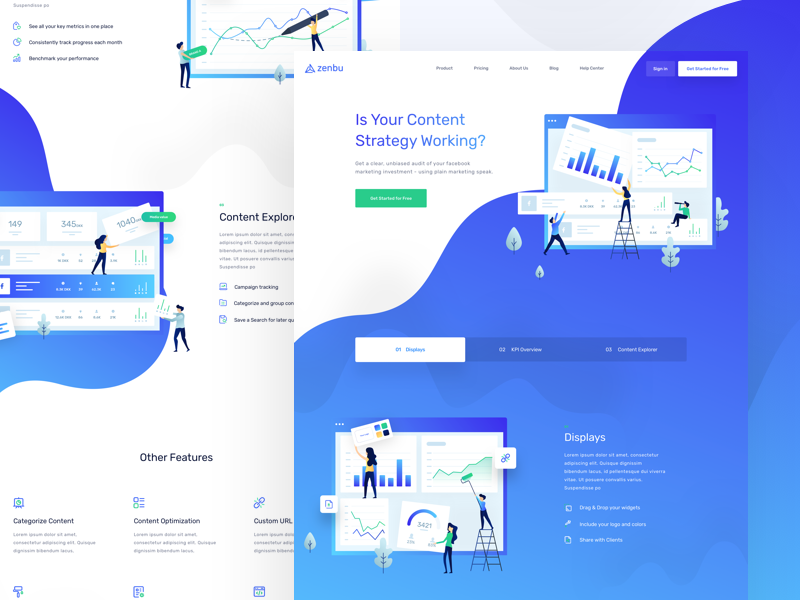 Zenbu - Features Page balkanbrothers clean illustration landing page marketing social media ui uidesign ux uxdesign web website