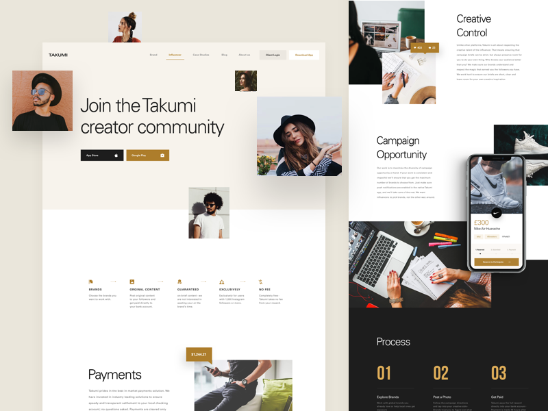 Takumi - Creator Page balkan brothers clean design homepage interface landing page minimal ui ux web website