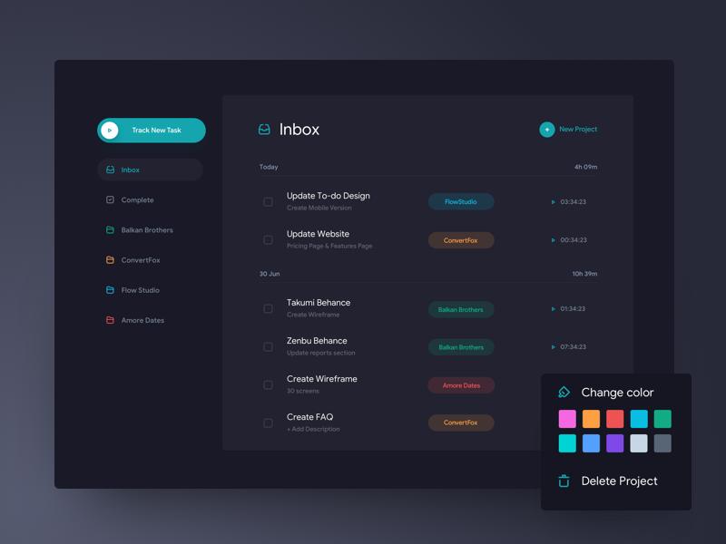 Task tracker   dark theme