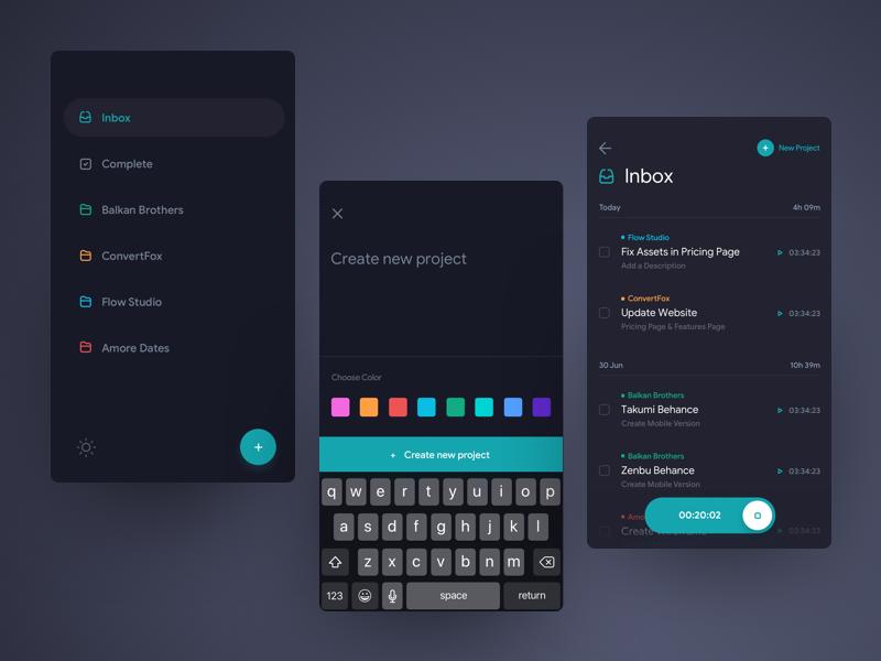 Mobile Task Tracker - Dark Theme darkui darktheme uidesign ui tracker task mobileapp ios interface app