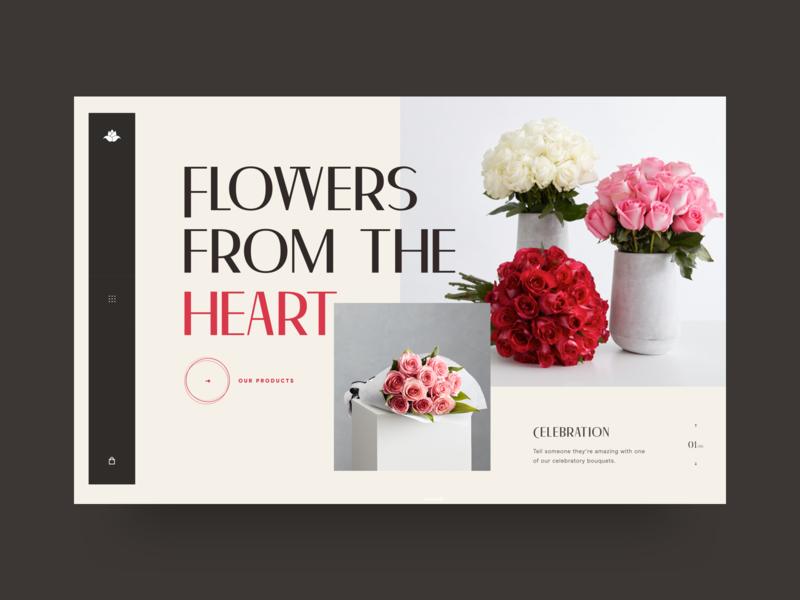 Flowers Shop - Hero Exploration flower ecommerce shop hero website web ux ui typography photo interface grid design