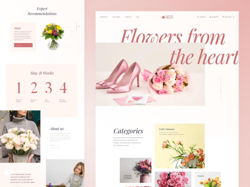 Flowers Shop - Homepage design website uidesign homepage typography web grid ui