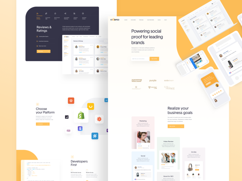 Stamped.io - Website is Live! social proof rating interface ui webdesign homepage landing page uidesign ux web website rate support design