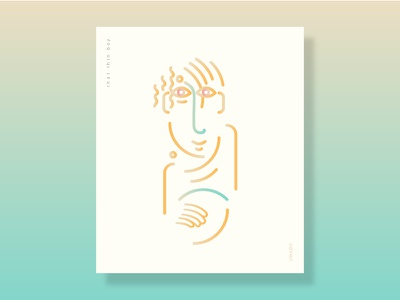 that thin boy gradient character line print illustration
