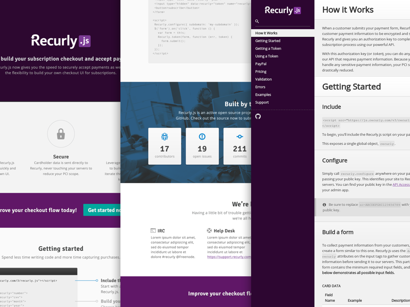 Recurly.js landing page api open source oss github