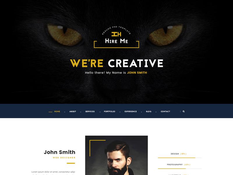 Hire Me - Personal vCard Website Design