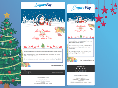 """SignerPay """"Merry Christmas & Happy New Year"""" Newsletter responsive adobe xd html template mailchimp newsletter new year christmas signerpay"""
