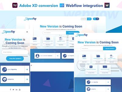 Adobe XD conversion to Webflow integrationw adobe xd conversion webflow integration landing page web design