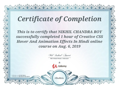 Udemy Certificate over Css Animation effects.