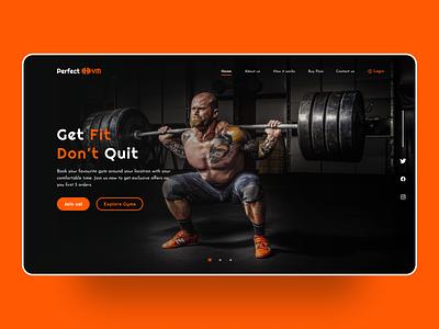 Perfect GYM Landing Page behance inspiration web branding gym app landing page web design website stark trent ui inspiration dailyui user interface design uiuxdesign minimal uiux ui