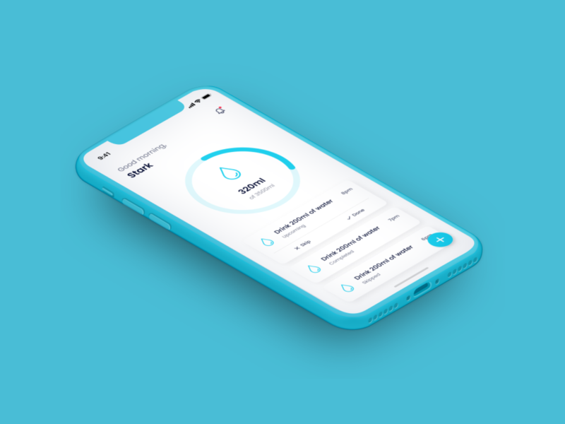 Water Tracker App Design uxui app design water tracker branding ux designer dailyui behance ui inspiration user interface design uiux stark trent minimal ui flat ui flat design appdesign app