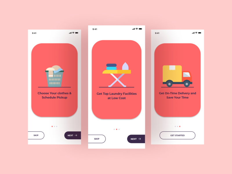 Laundry App Onboarding Screens design trending ui app design ux design onboarding ui user interface uiuxdesign behance dailyui appdesign ui inspiration user interface design uiux stark trent minimal ui