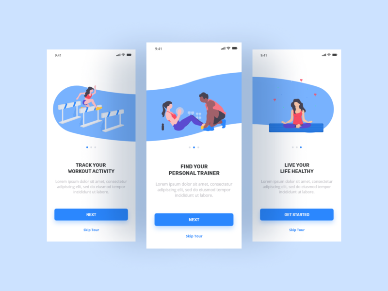 Fitness App Onboarding Screens flat ui ux designer onboarding ui design branding ux interaction design designer uiuxdesign behance dailyui stark trent appdesign ui inspiration user interface design uiux minimal ui