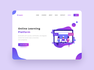 E-Learn - Landing Page Redesign appdesign uidesign uxdesign webdesigner online learning e-learning elegant website webdesign stark trent designer uiuxdesign behance dailyui ui inspiration user interface design uiux minimal ui