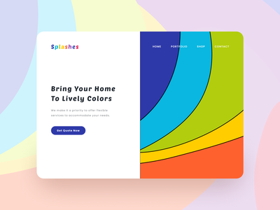 Splashes Landing Page Design behance branding illustration dailyui ui inspiration user interface design uiux stark trent minimal ui