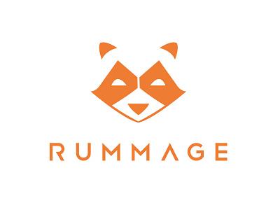 Rummage logo final raccoon logo animal orange app logo