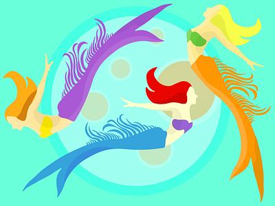 Moon and Mermaid İllustration design art illustration illustrations flatdesign adobe illustrator design mermaids flat illustration flat