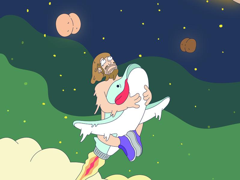 Dolphin Rocket Boy 3000 adobe illustrator vector creative quirky humor space imagination illustration illustrator