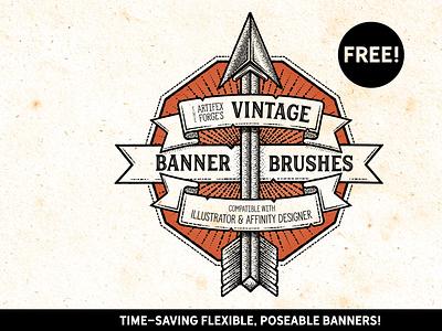 Free - Vintage banner Brushes arrows arrow tattoo banner retro vintage vector brush illustrator