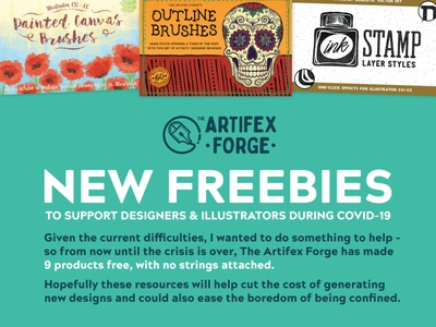 New Artifex Forge Freebies bottle flowers flower skull watercolor watercolour ink canvas stamps stamp free freebies tools design patterns textures texture brushes brush illustrator