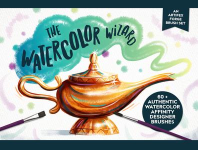 The Watercolor Wizard smoke genie lamp post affinitydesigner affinity brushes brush watercolor watercolour