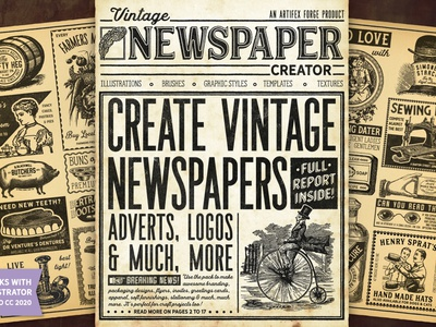 Vintage Newspaper Creator adverts advert newspaper ad glasses vegetables pig keg barrel dentures penny farthing vintage paper newspapers newspaper