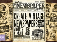 Vintage Newspaper Creator adverts advert newspaper ad glasses vegetables pig keg barrel dentures penny farthing vintage paper newspapers newspaper