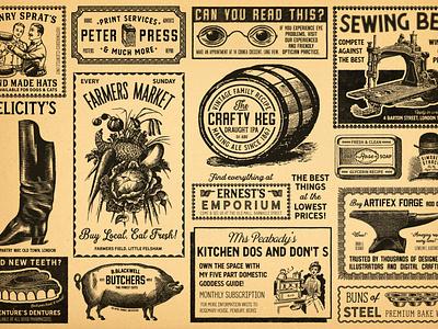 Vintage Newspaper Adverts print cakes cake baking glasses machine sewing soap anvil vegetables veg teeth dentures pig boots barrel keg newspapers newspaper vintage