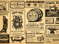 Vintage Newspaper Adverts print cakes cake baking glasses machine sewing soap anvil vegetables veg teeth dentures pig boots barrel keg newspapers newspaper vintage