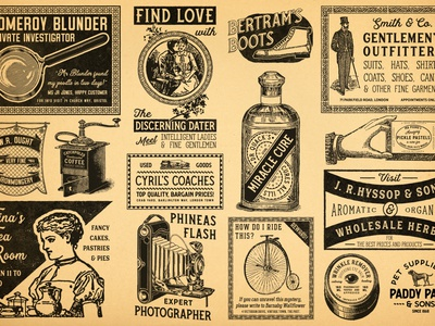 Vintage Newspaper Adverts 2 grinder coffee coach penny farthing camera dog gentleman outfitter bottle magnifying glass paper newspapers newspaper vintage