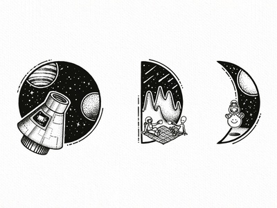 Celestial Sketchbook - Moon Phases alien picnic moonscape dunes cone nose shuttle robots robot moons spacehopper spacewoman spaceman astronaut stars startup galaxy space phases moon